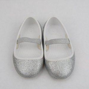 Girls Native Silver Glitter Mary Jane Flats